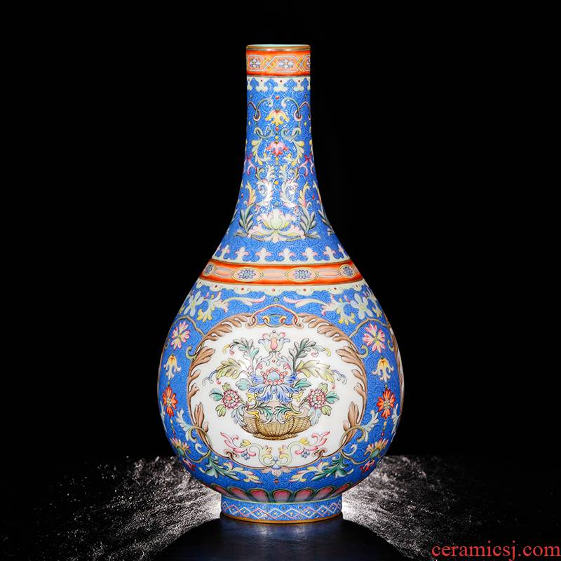 Yang Shiqi ceramic qianlong palace style blue brocade medallion and name pastel blue lines gall bladder