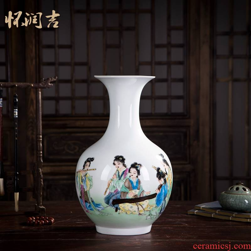 Huai embellish, jingdezhen ceramic vase hand - made painting figures whistling, jade the feixianguan classical fashion home decoration vase