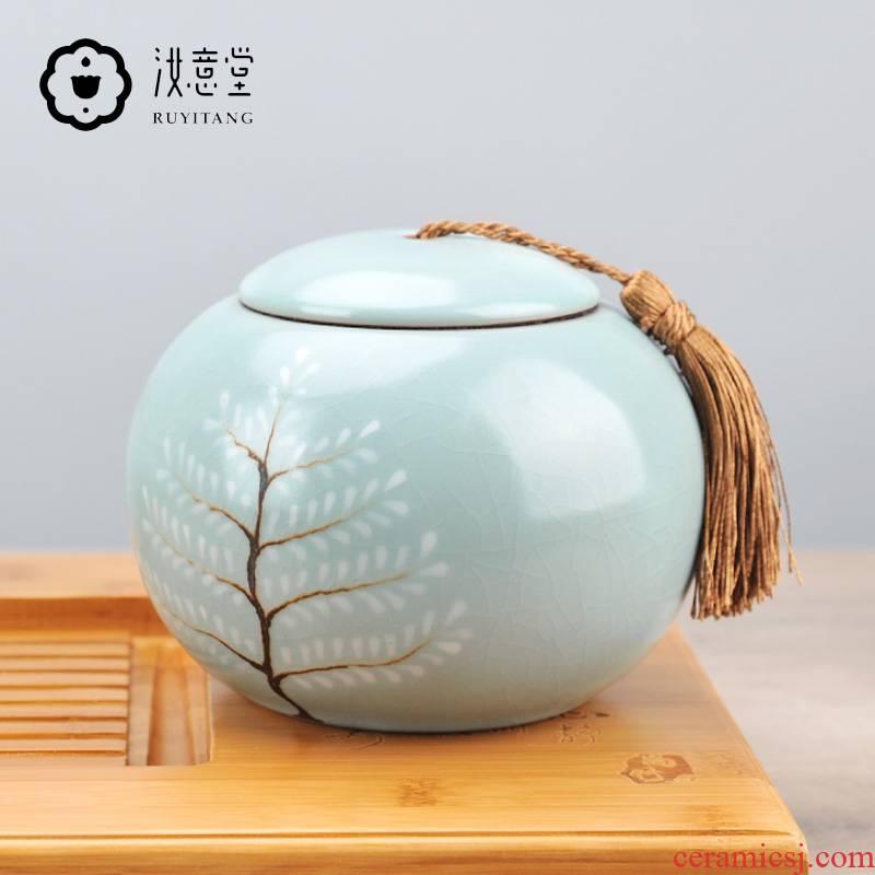 Your up caddy fixings ceramic seal tank large porcelain storage POTS of black tea tea pot POTS household storage POTS