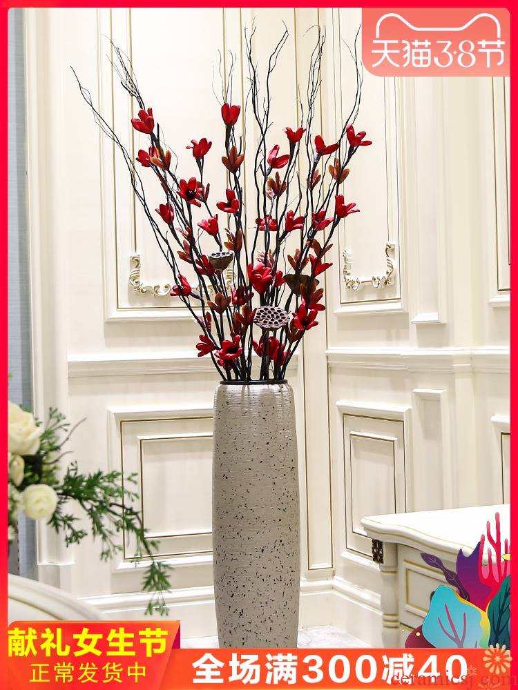 I and contracted dry flower arranging flowers decorate the place to live in the sitting room ground ceramic large vase European creative floral outraged