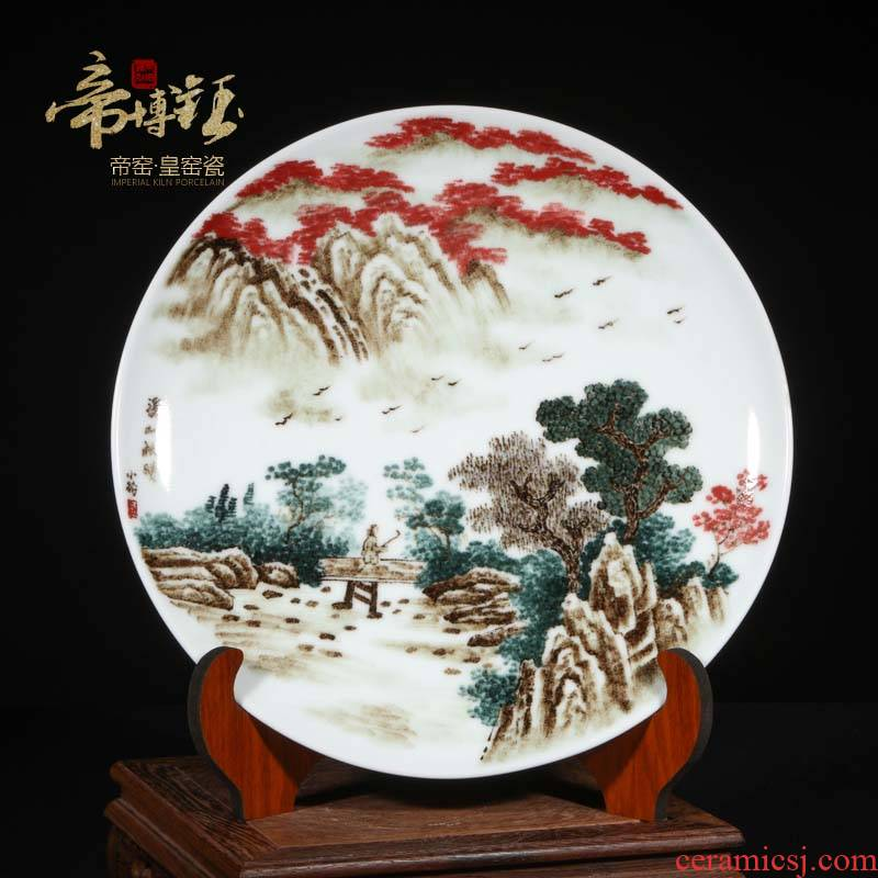 Jingdezhen famous landscape hand - made ceramics porcelain hang dish plate sitting room adornment is placed a housewarming gift