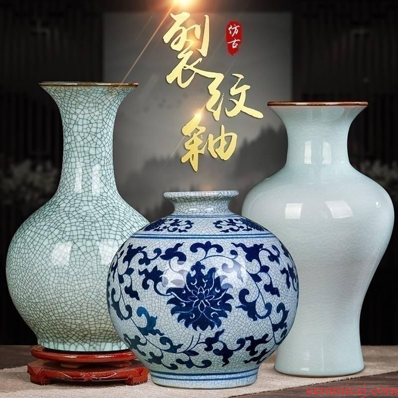 Archaize of jingdezhen ceramics up on crack green glaze vase home sitting room adornment furnishing articles of handicraft
