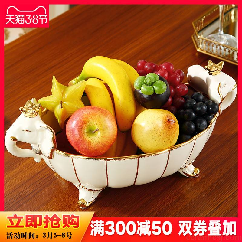 The New town curtilage the elephant compote European creative household ceramic fruit bowl sitting room high - end home decoration key-2 luxury furnishing articles