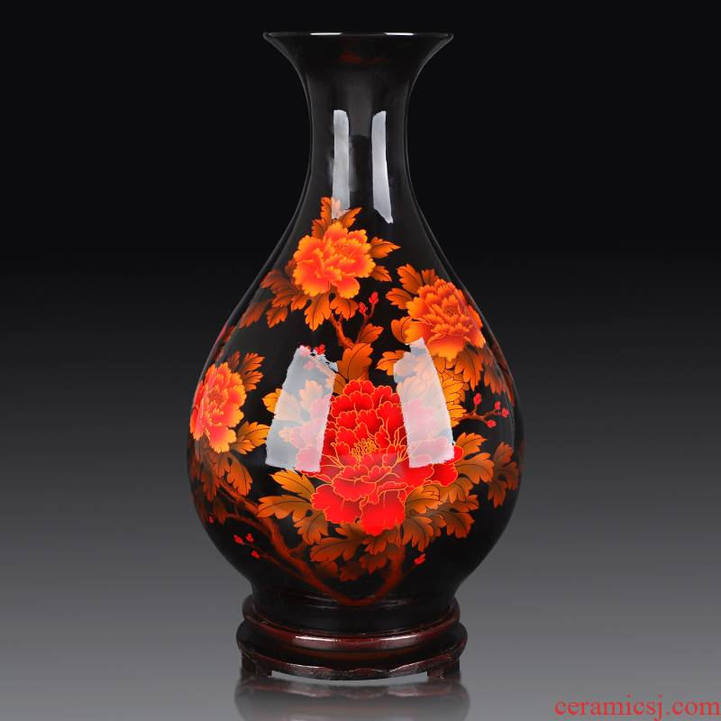 Jingdezhen ceramics glaze crystal vase furnishing articles China red sitting room of Chinese style household flower arranging wedding decoration