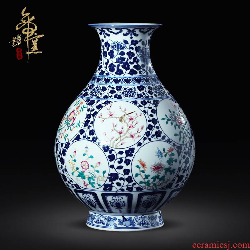 Jingdezhen ceramic vase celebrity famous antique vase imitation porcelain furnishing articles sitting room decorate a design package mail