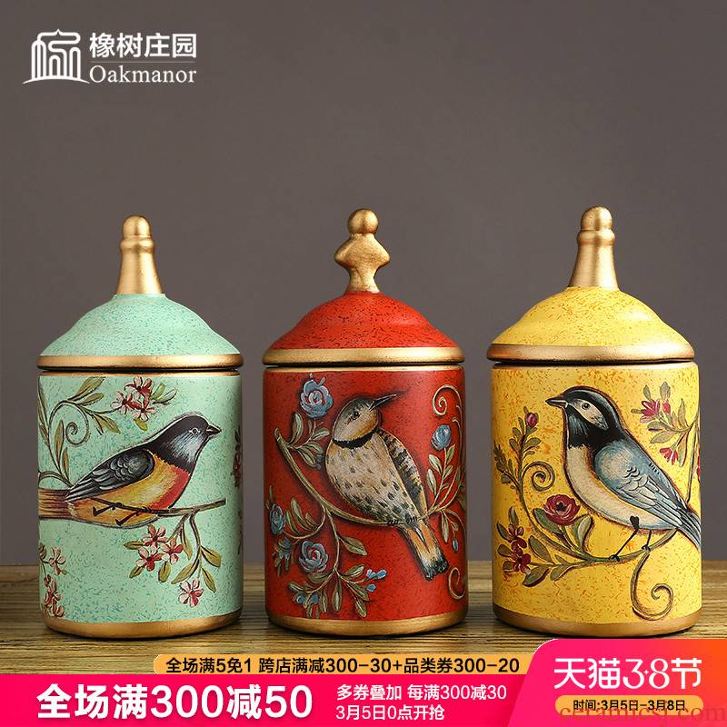American creative storage tank candy jar furnishing articles restoring ancient ways with cover European household ceramic pot wine Chinese style decoration