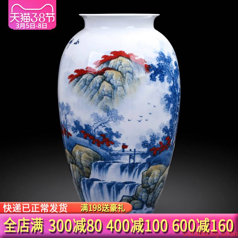 The Master of jingdezhen ceramics hand - made antique flower arranging large Chinese blue and white porcelain vase in the sitting room porch place