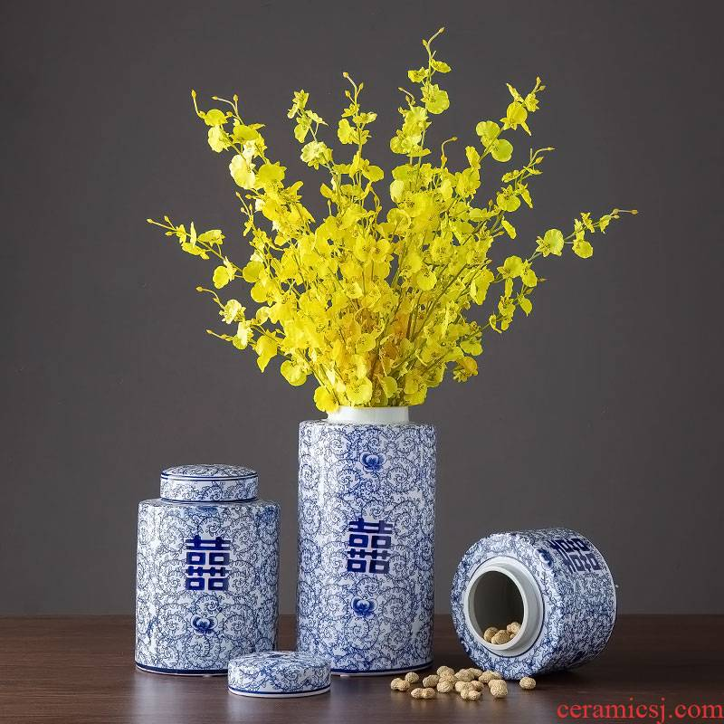 Ceramic furnishing articles storage jar with cover large happy character of blue and white porcelain altar home decoration is the sitting room TV ark, adornment