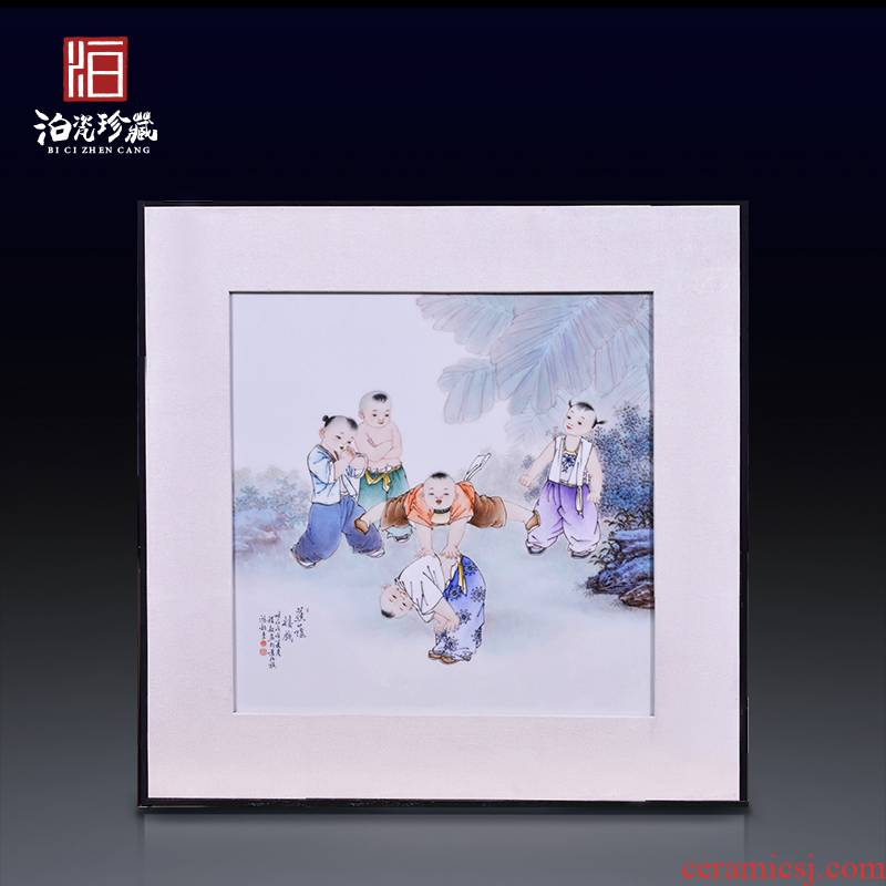 Jingdezhen ceramics hand - made lad play porcelain plate painting the living room a study background decoration hanging painter in furnishing articles