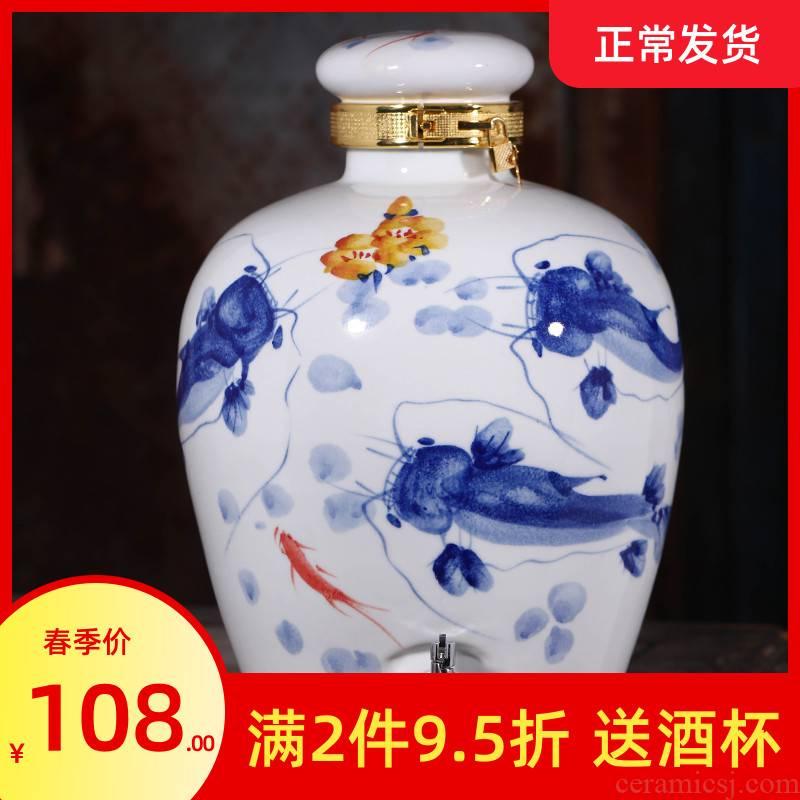 Jingdezhen ceramic jar 10 jins 20 jins 50 kg 100 jins of blue and white porcelain it household seal wine jar