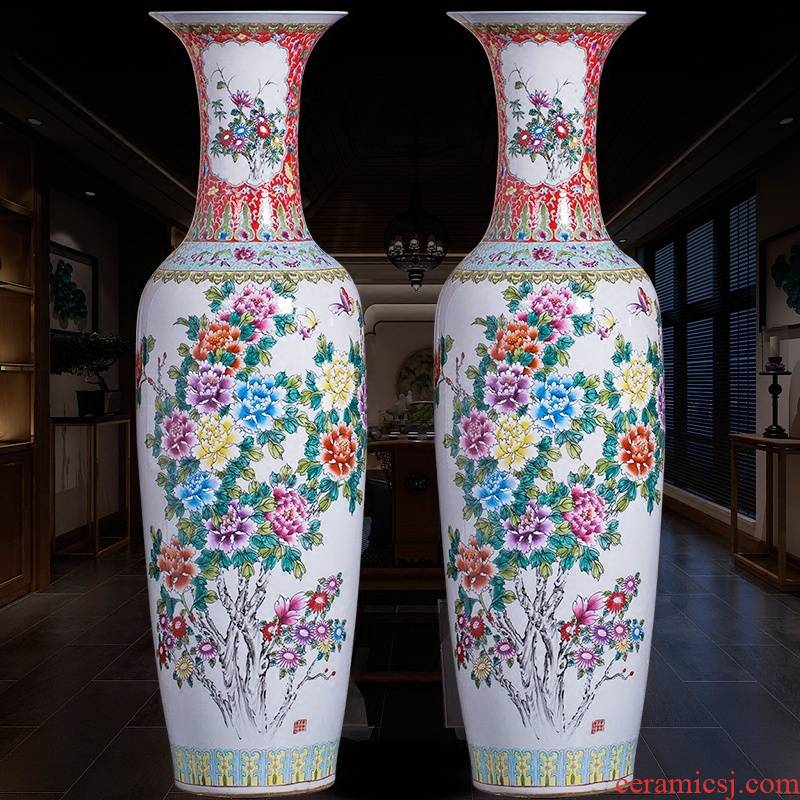 Jingdezhen ceramics powder enamel handpainted big vase landed large sitting room the hotel Chinese style adornment is placed at the feel