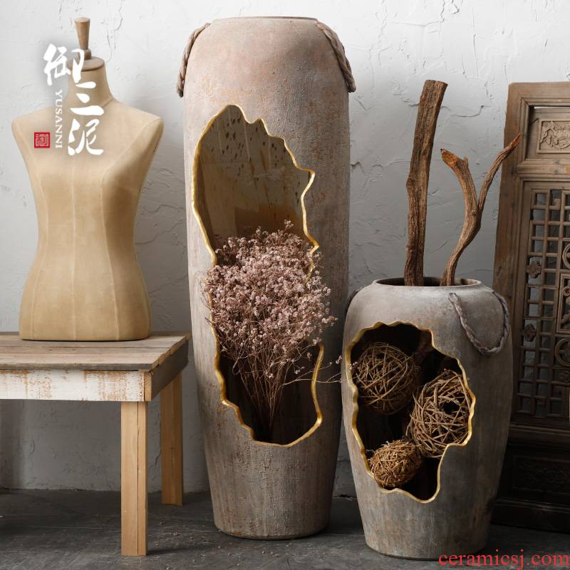 Ancient pottery decorative perforated hollow out waterscape ceramic a large vase dry flower arranging flowers light key-2 luxury furnishing articles floor living room