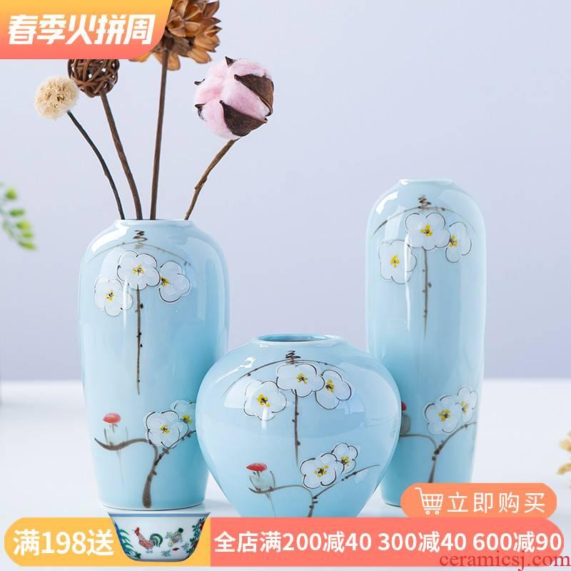 Jingdezhen ceramics new Chinese flower arranging floret bottle three - piece living room TV ark, home furnishing articles