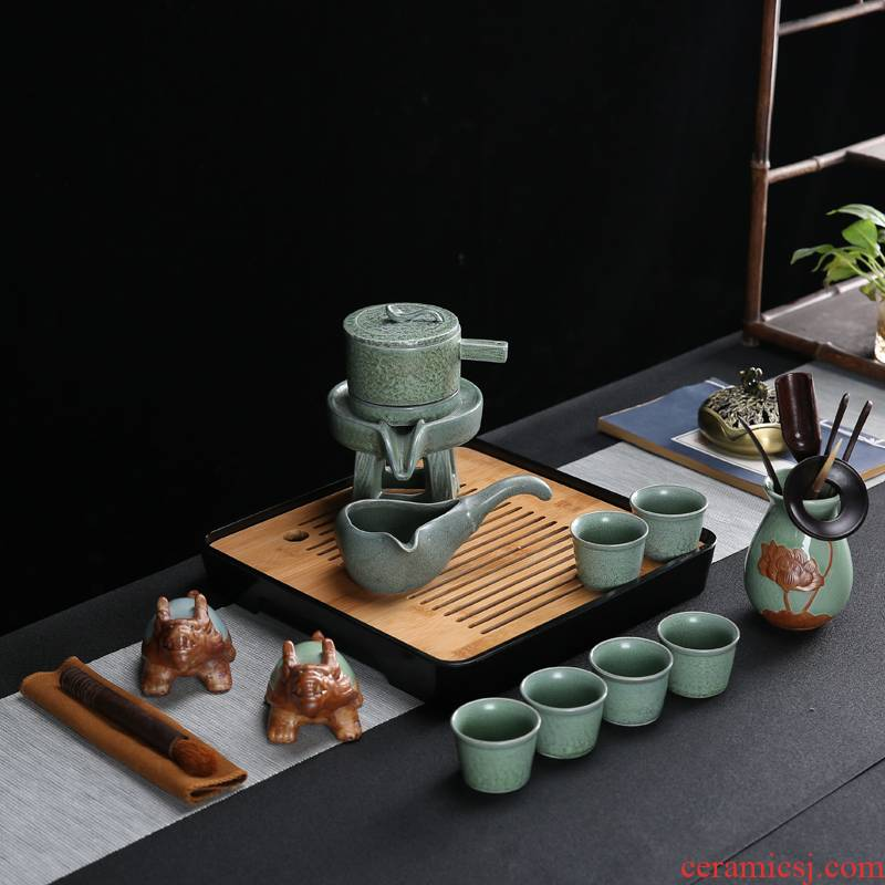 Celadon automatic tea set home stone mill lazy tea cups, tea, the teapot tea tray accessories teapot