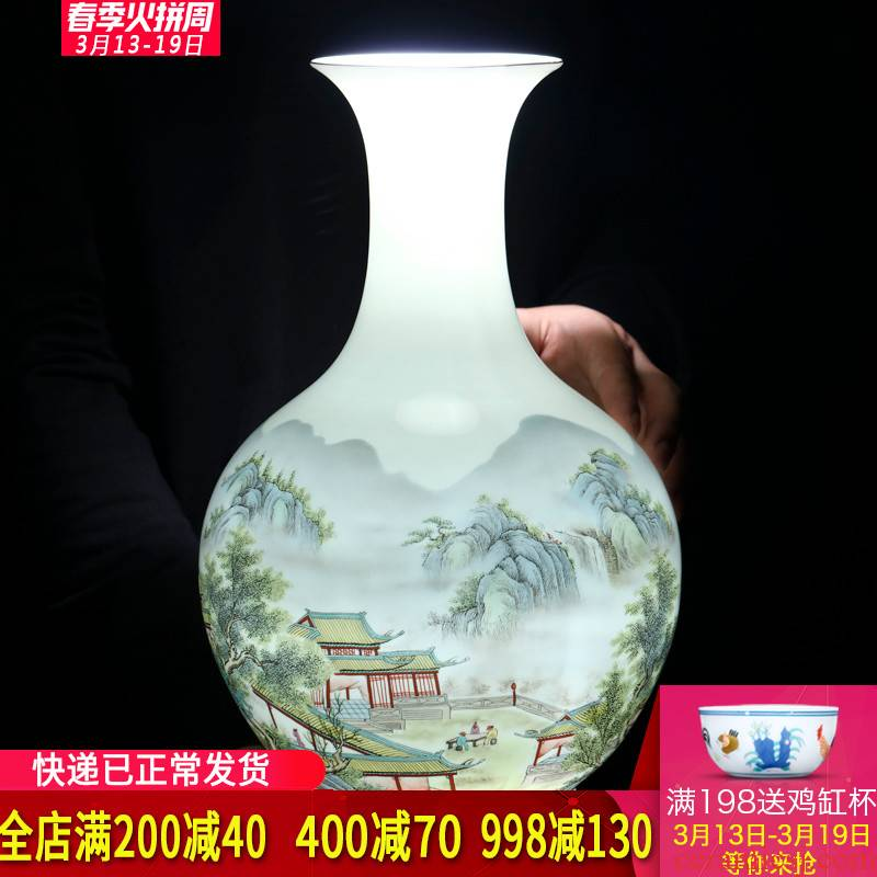 Jingdezhen ceramics powder enamel vase flower arrangement of Chinese style living room wine cabinet office home decoration handicraft furnishing articles