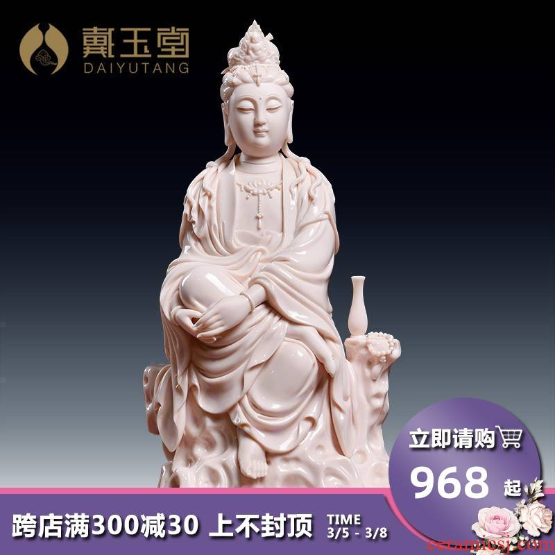 Yutang dai dehua ceramic Buddha crafts home furnishing articles worship the goddess of mercy guanyin/D18-48