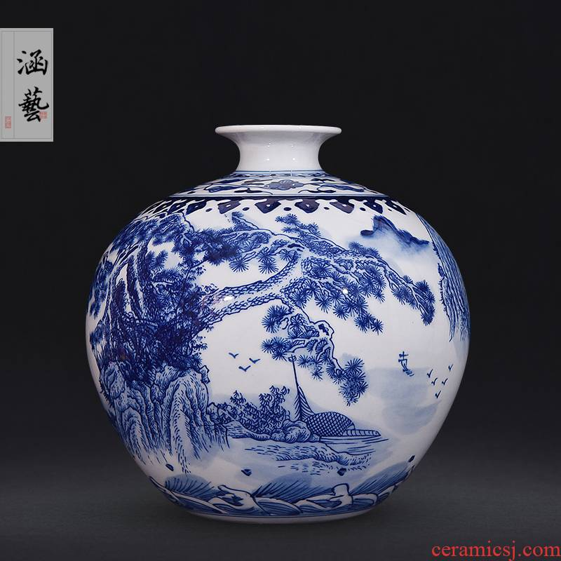 Jingdezhen blue and white landscape family pomegranate ceramic bottle of new Chinese style living room porch decoration flower arranging handicraft furnishing articles