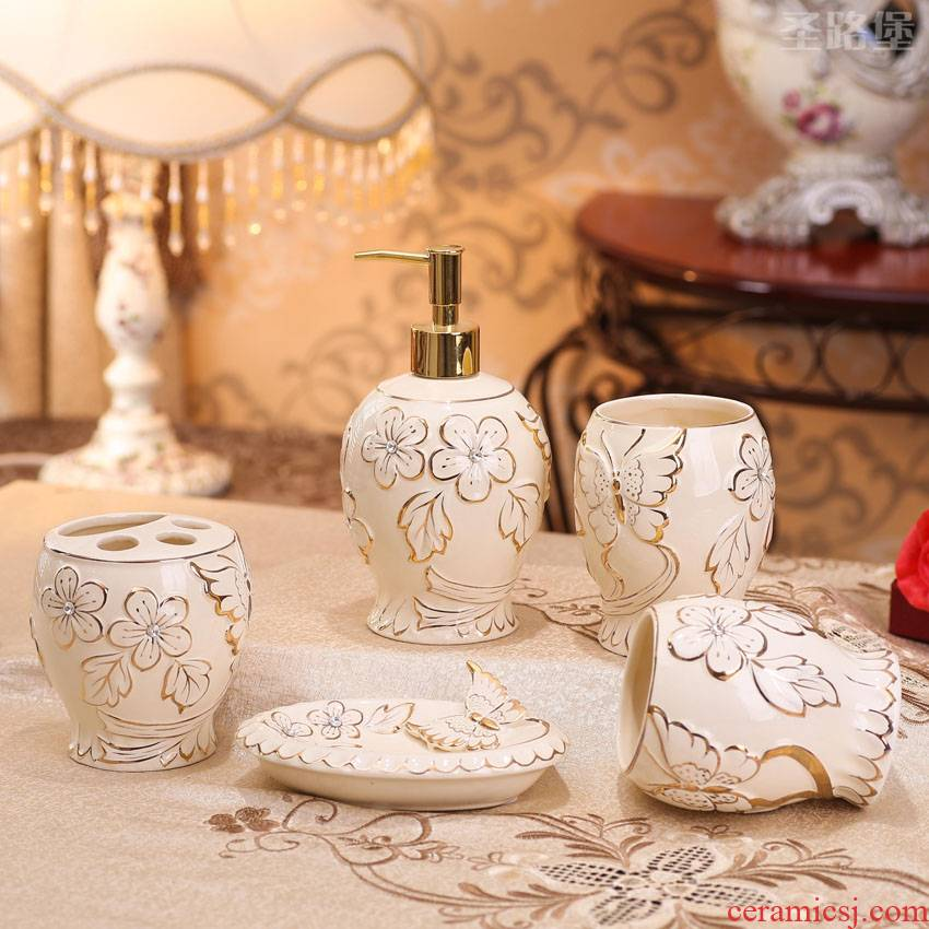 European ceramic bathroom five times inside the bathroom wash gargle suit creative butterfly bathroom furnishing articles wedding gift