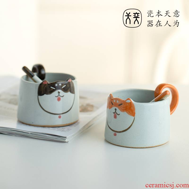 Shiba inu individuality creative express picking cup cup household glass ceramic keller of coffee cup picking