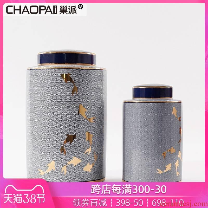New Chinese style ikea general ceramic bottle furnishing articles goldfish pattern wine storage tank is the sitting room TV light key-2 luxury decoration