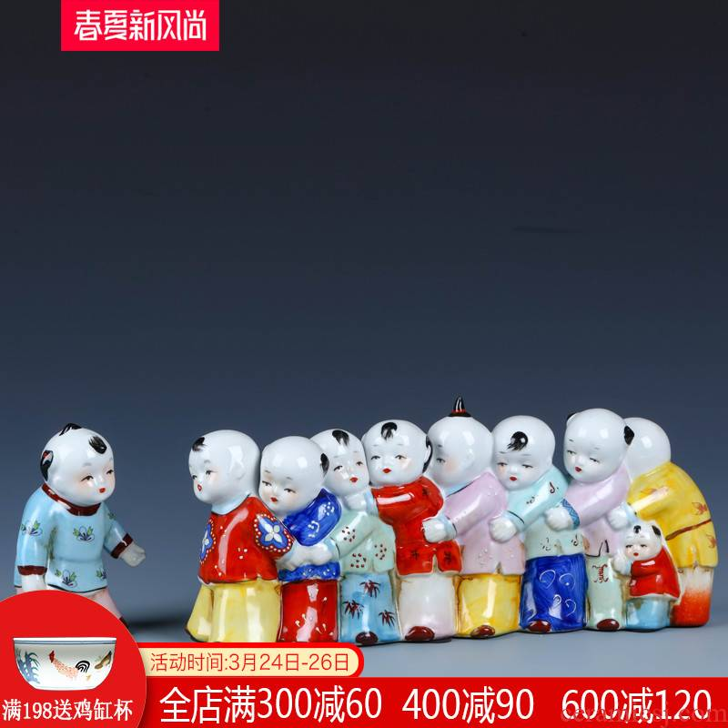 Jingdezhen porcelain dolls small creative home furnishing articles express character its sitting room decorates classic rural desktop