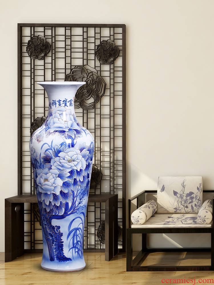 Jingdezhen ceramics hand - made see colour of large blue and white porcelain vase sitting room place large hotel opening gifts