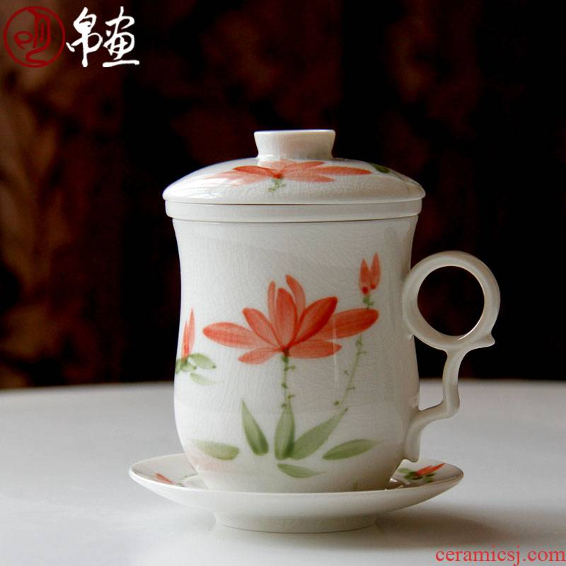 Office of jingdezhen ceramics powder enamel peony with cover cup with the filter glass cup