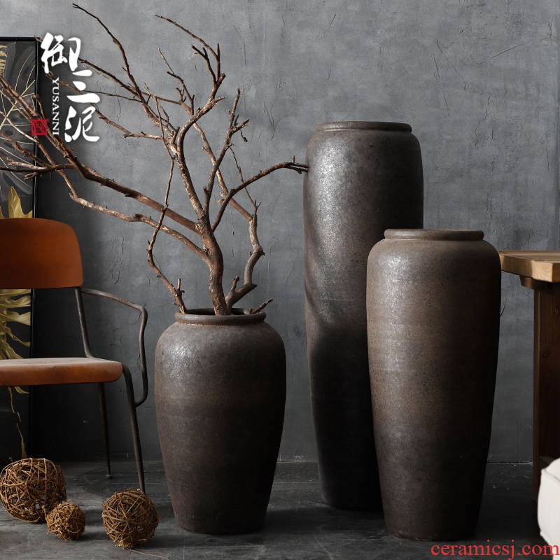 Jingdezhen ceramic large vase sitting room be born POTS big flowerpot flower arranging restoring ancient ways furnishing articles I and contracted by hand