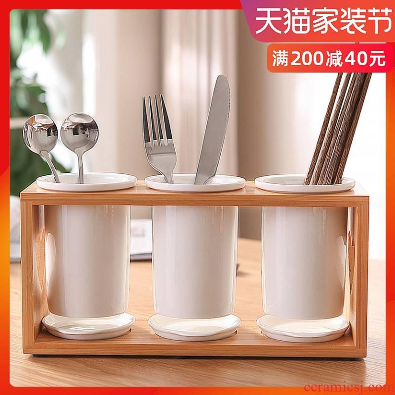 Bamboo chopsticks tube household chopsticks chopsticks chopsticks basket cage drop ceramics tableware chopsticks spoons to receive shelf
