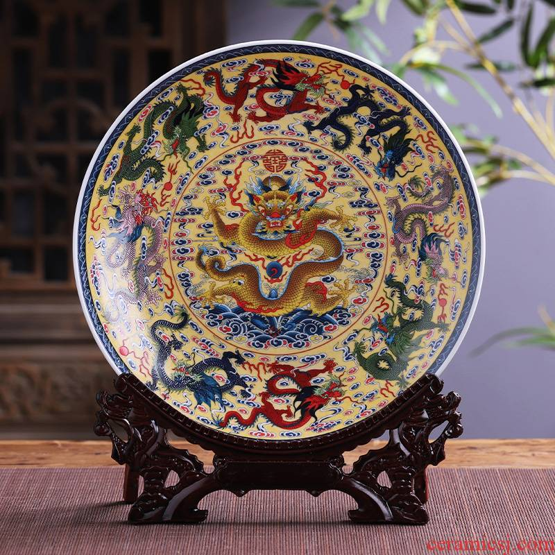 Jingdezhen ceramics Kowloon, hang dish feng shui decoration plate is placed large Chinese wine sitting room adornment