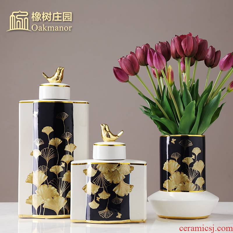 New Chinese style light key-2 luxury gold leaf ceramic pot of storage tank furnishing articles candy jar sitting room adornment porcelain jar with cover the receive tank