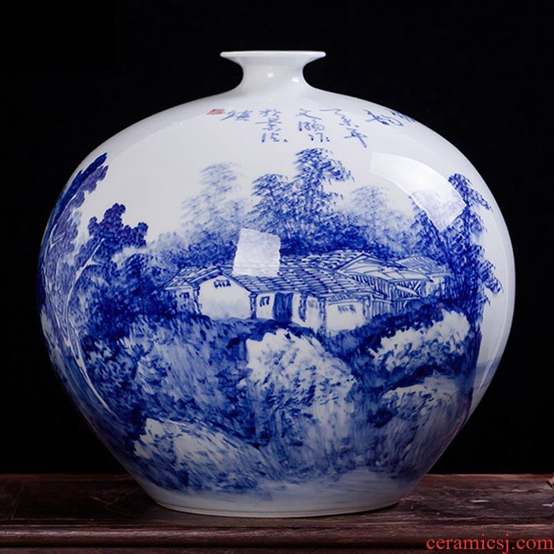 Jingdezhen ceramics famous Wu Wenhan hand - made of blue and white porcelain vase pomegranate landscape classical collection certificate