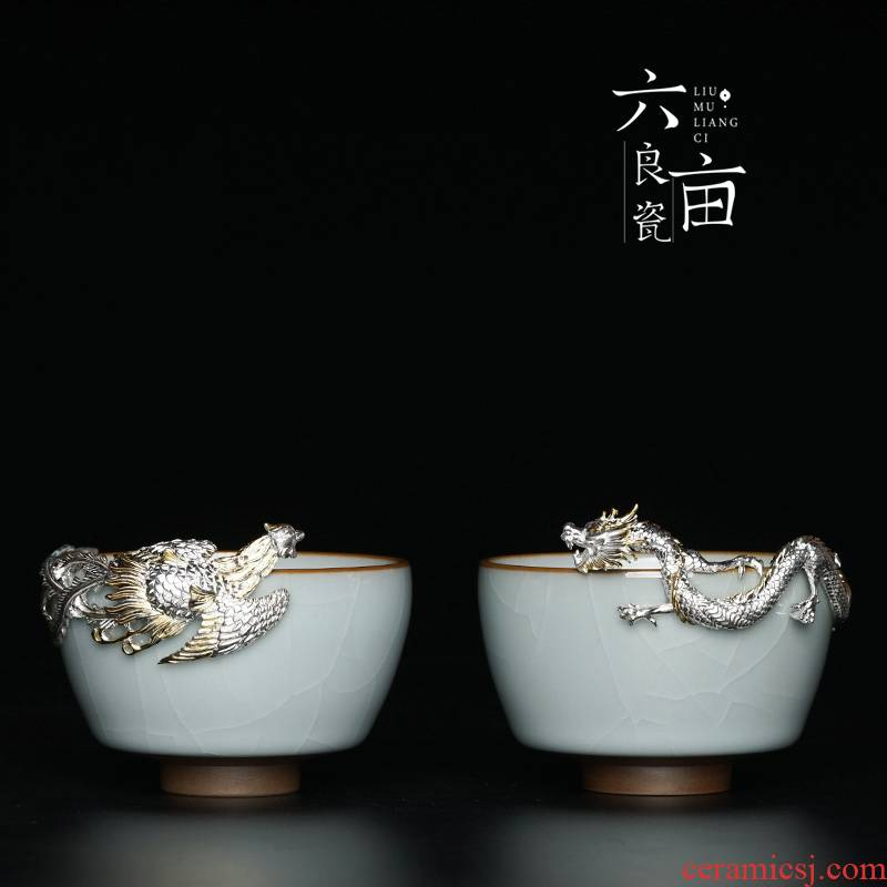 Ceramic cup up with the silver carve cup pure manual kung fu tea master cup tea cup name cup