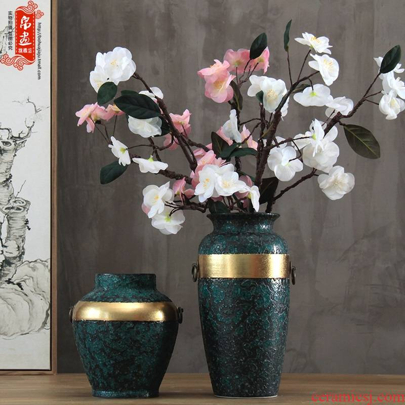 Grain dry flower vases, creative home stay facility wind art pottery ancient verdigris do old flower, flower interior furnishing articles
