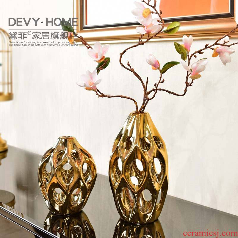 Light European - style key-2 luxury home decoration ceramic vase modern living room table creative furnishing articles dry flower arranging flowers, arts and crafts