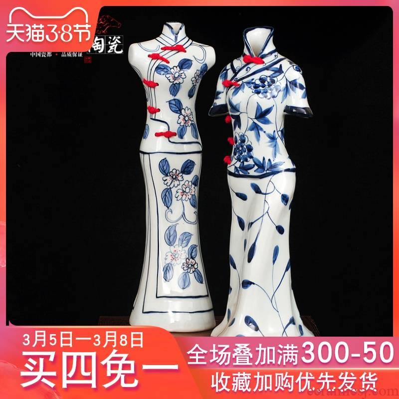 Jingdezhen ceramic hand - made classic blue and white Chinese dress thanks vase household wine ark, adornment handicraft furnishing articles