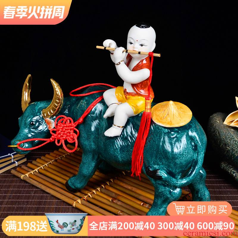 Jingdezhen desktop furnishing articles ceramic crafts home sitting room adornment cowboy ride cow animal pastoral wind