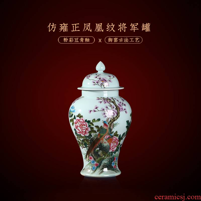 Jia lage archaize of jingdezhen ceramic checking general famille rose porcelain painting of flowers and pot household decorative vase furnishing articles in the living room