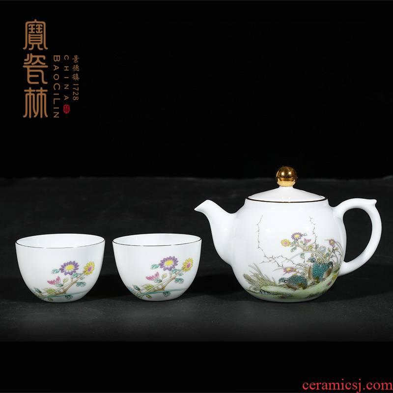 Treasure porcelain powder enamel Lin live a pot of two cups