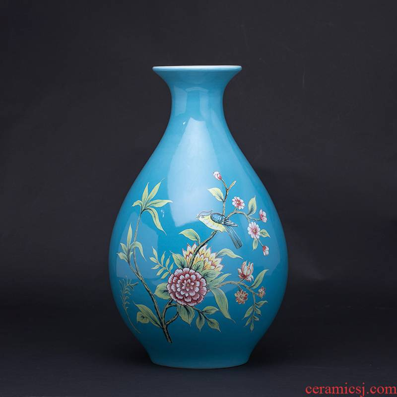 Jingdezhen ceramics vase furnishing articles of Chinese style living room TV cabinet home decoration style of the ancients blue okho spring arranging flowers