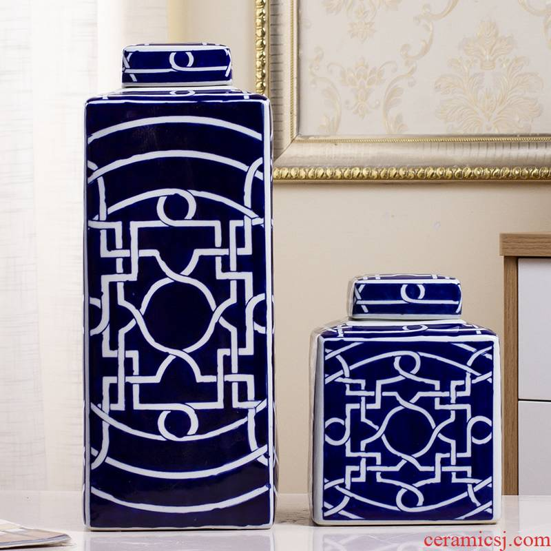 New classical porcelain pot decorative furnishing articles of Chinese blue and white living room TV cabinet vase wine home decoration