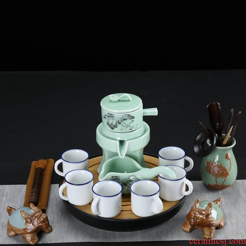All semi - automatic celadon lazy tea set kung fu tea set small household as cans ceramic cups contracted and creative move