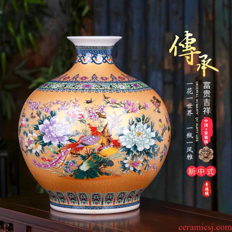 Jingdezhen ceramics pomegranate bottles of archaize colored enamel vase furnishing articles flower arranging large home decoration in the living room