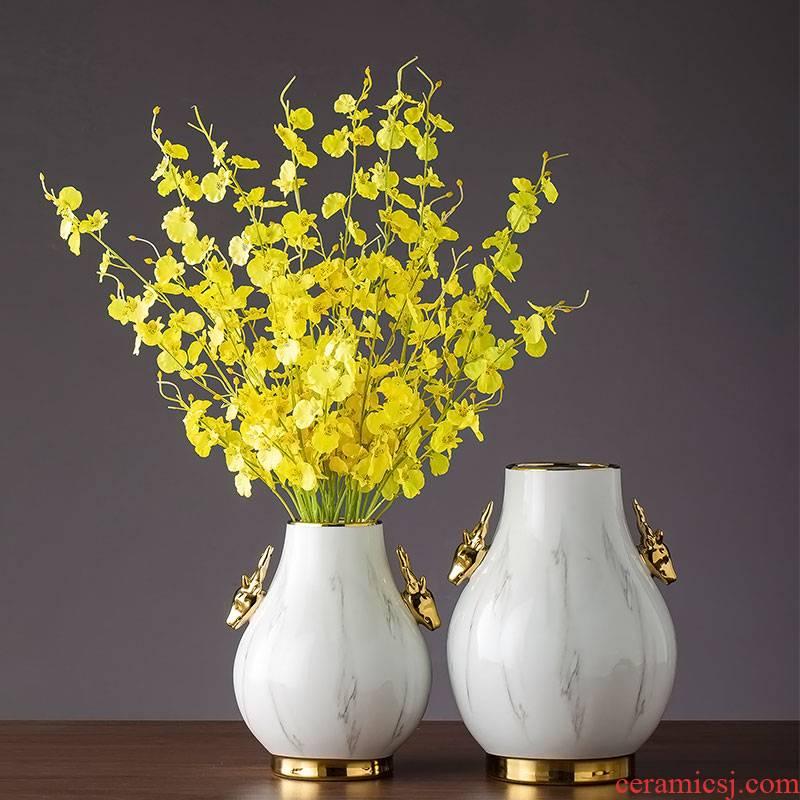Ceramic dry flower vase household living room table vase furnishing articles light decorations creative key-2 luxury decoration Ceramic deer floral outraged