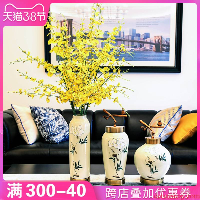 New Chinese style household ceramic vases, dried flowers, flower arrangement type TV ark, sitting room porch table decorations furnishing articles