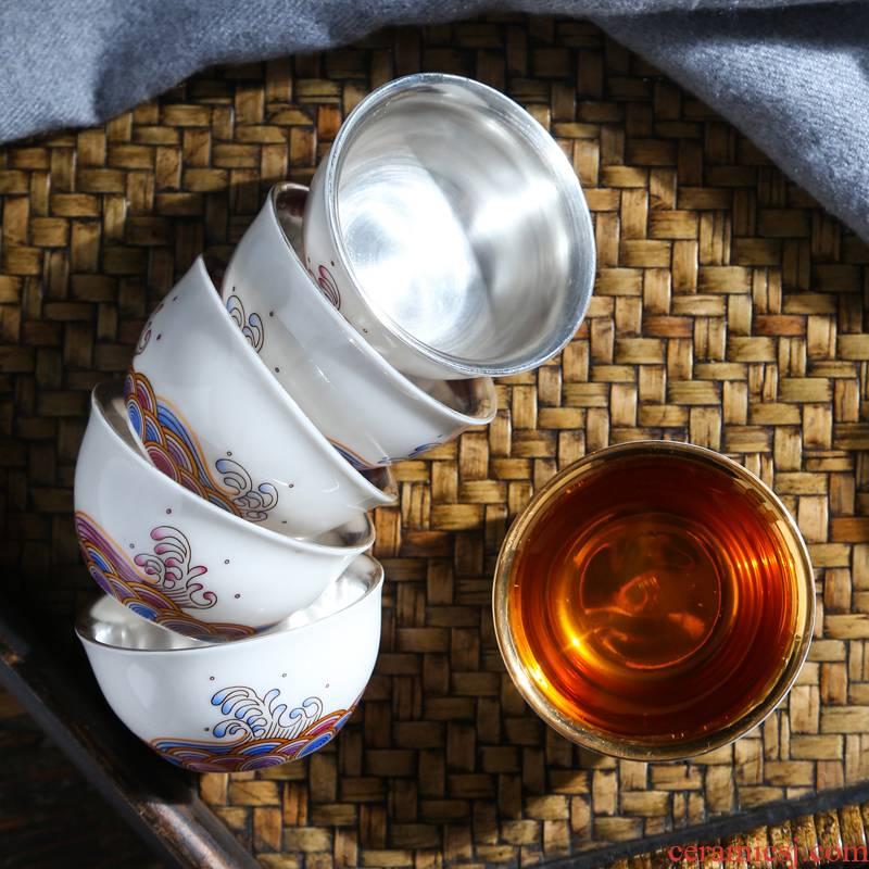 Suet jade white porcelain hand - made master cup plain soil checking ceramic cups single CPU kung fu tea cups