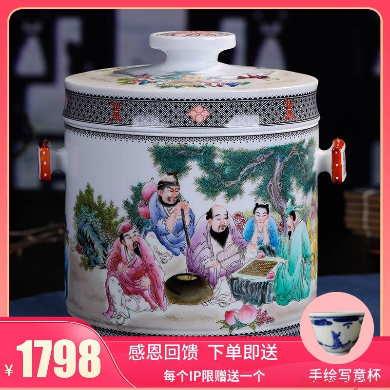 Jingdezhen ceramic hand - made caddy fixings large puer tea pot box general household checking quality restoring ancient ways