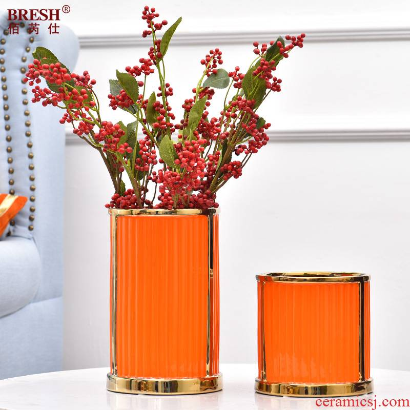 Light key-2 luxury ceramic vases, flower arranging is placed between the example of beautiful bedroom wind Jane porch decoration flower