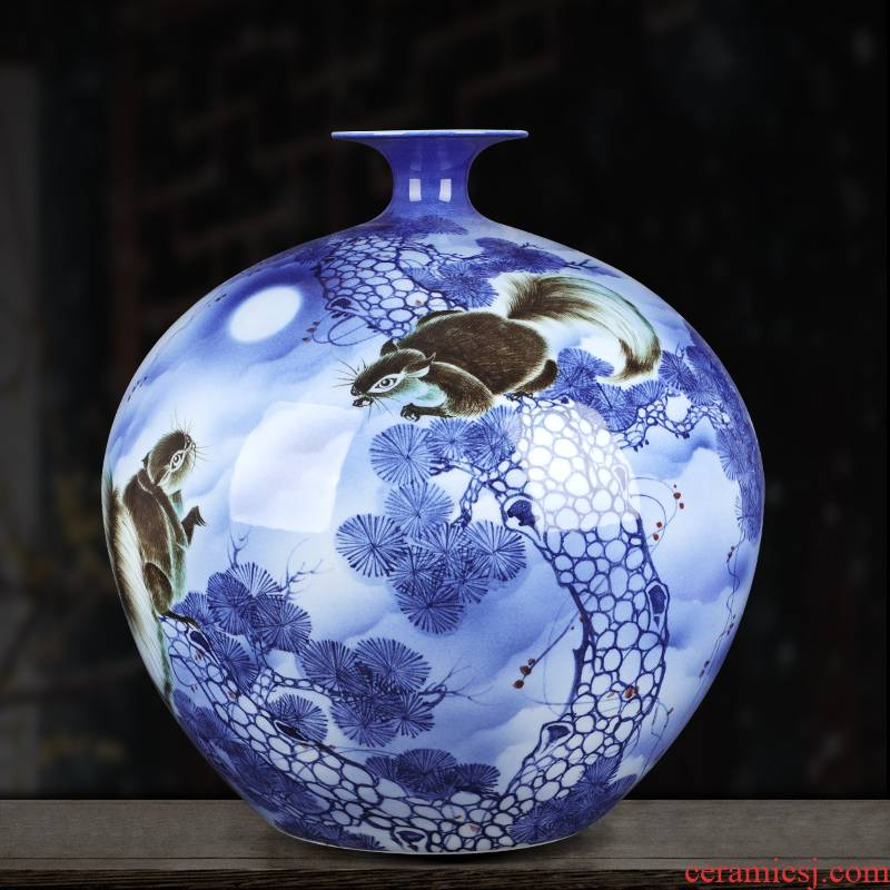 Jingdezhen ceramic vase large hand-painted gold rat prosperous wealth pomegranate gift collection villa hotel furnishing articles ornament