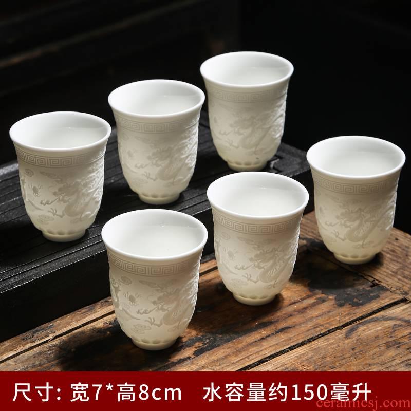 Dehua biscuit firing suet jade white porcelain glaze not manual master kung fu tea cup sample tea cup grain ceramic cup
